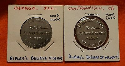 2 Diff Ripley's Believe it or Not Museum Good Luck Tokens Illinois+California
