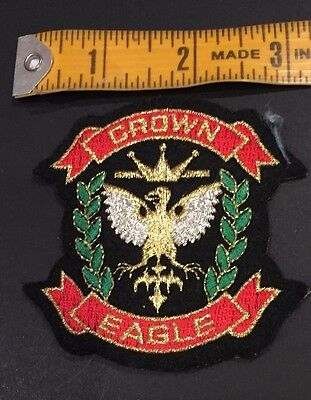 Crown Eagle Iron On Sew Applique Badge Embroidered