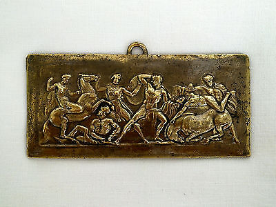 Antique fight scene Amazons and Greek battle plate solid brass