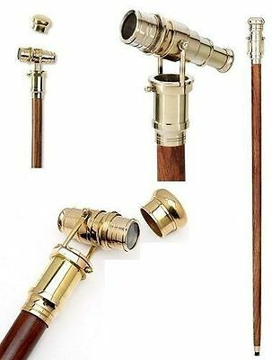 """Vintage 36"""" nautical style Walking Stick with Solid Brass foldable Telescope."""