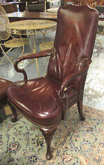 Dark Burgundy Leather George I Style Open Arm Chair
