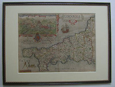 Cornwall: antique map by Saxton and Kip, 1607 (1st edition)
