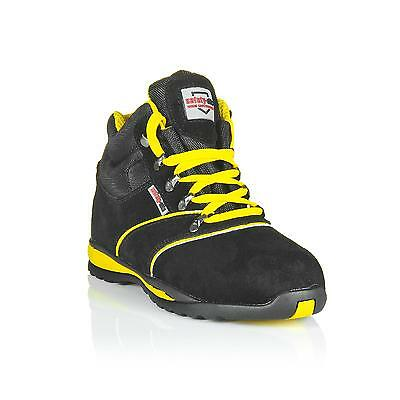 safety-site A2 Hiker EN Tested Steel Toe Boot - Suede Black - Yellow Trim UK 04