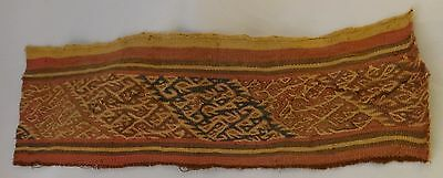 "Ancient Pre-Columbian woven wool textile from Peru. 10th to 15th c. 16 ½"" x 5"""