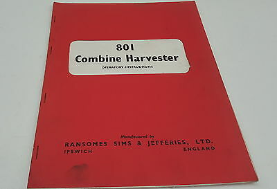 1965 RANSOMES 801  Combine Harvester Factory Operators Instructions
