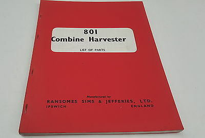 1965 RANSOMES 801  Combine Harvester Factory Parts Book