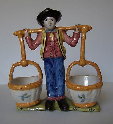 DESVRES n Quimper French faience Breton open salt two  baskets hanging