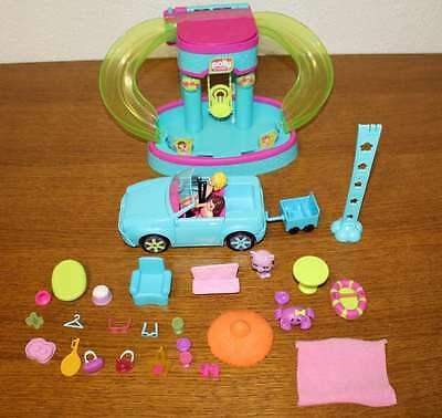 Lot Figurines Polly Pocket, voiture + accessoires