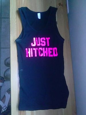 American Apparel Special Edition Bachelorette Wedding Just Hitched Tank Top Med