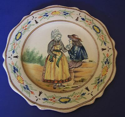 MALICORNE n QUIMPER plate French faience pottery beautiful