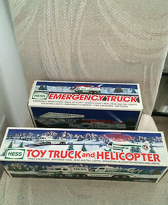 hess trucks -lot of 2 - Emergency truck & toy truck and helicopter -smoke-free
