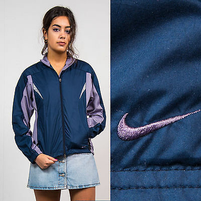 Womens Vintage Nike Blue Shell Tracksuit Jacket Top Sports Retro Casual 8 10