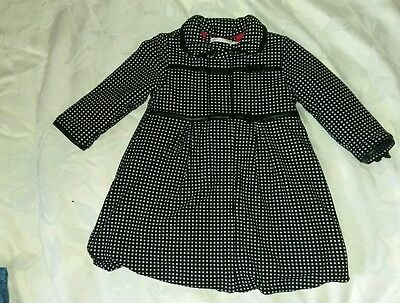 Girls Deux Par Deux Quilted Coat. Black Pink. Age 4 Years.