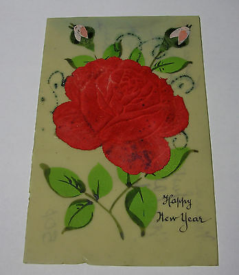 K013 - 1918 French CELLULOID Hand Painted & Stuck HAPPY NEW YEAR POSTCARD