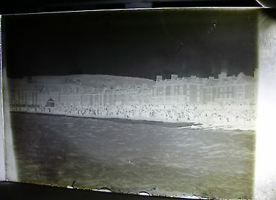 Lot73 - 1890s ABERYSTWYTH VICTORIAN BEACH SCENE From PIER - Glass Negative