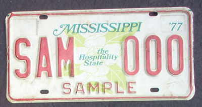 """Nice 1977 Mississippi Sample  """"The Hospitality State"""" License Plate."""