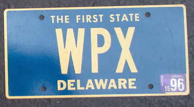"""Nice Delaware 1996 Vanity WPX  """"The First State"""" License Plate."""