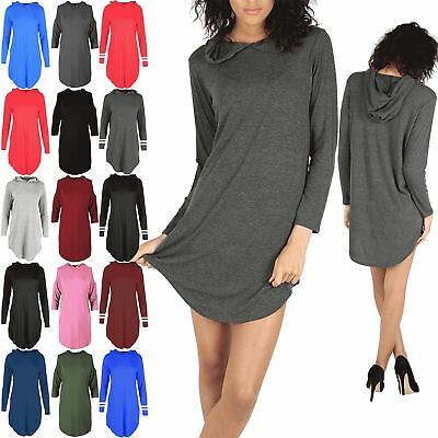 Womens Long Sleeves Curved Hem Hoodies Ladies Plain Loose Baggy Dress Plus Size