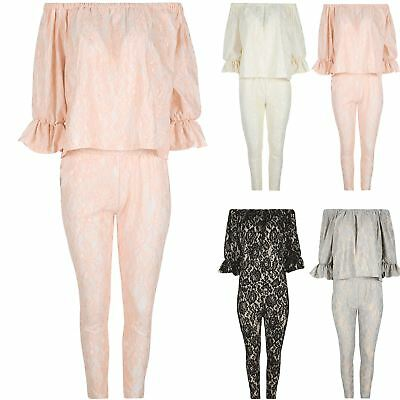 Ladies Tracksuit Peplum 3/4 Sleeves Womens Floral Lace Off The Shoulder Bardot