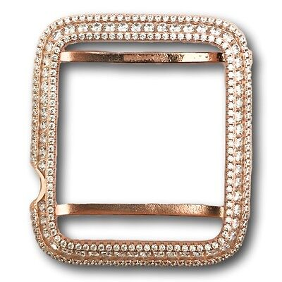 Series 1 Bling Apple Watch Bezel Case Rose Gold Plated Lab Diamonds 42mm large