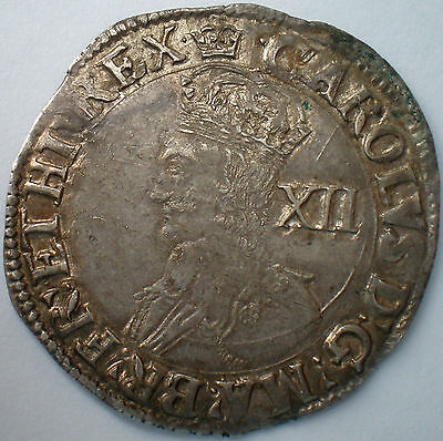 Charles I Tower Mint Shilling mintmark Crown