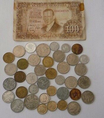 Spain - Collection / Bulk / Job Lot Coins & One 100 Peseta Note  - Ref T451