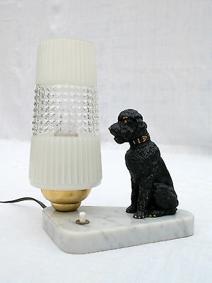 French Art Deco Mood Lamp Glass Shade Spelter Poodle on Marble Base