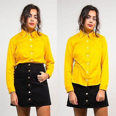 Womens Vintage Bright Yellow 70's Shirt Blouse Retro Polyester Mod Cute 16