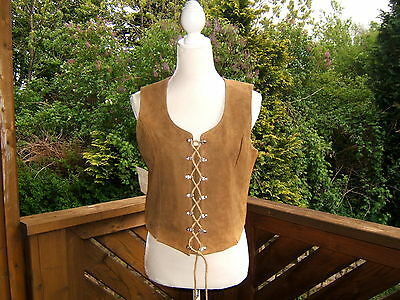 Soft Designer Leather Trachten Hunting Vest Gillet Oktoberfest EU Sz.42 /12? NEW