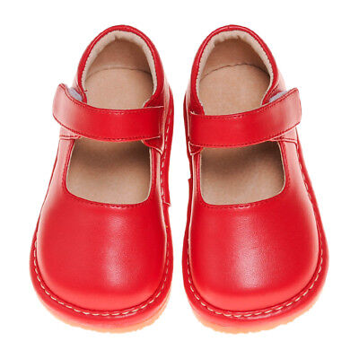 Girl's Leather Squeaky Mary Jane Toddler Shoes Solid Red Sizes 1 to 7