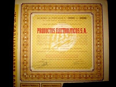 Productos Electrolíticos SA  (Spain) Share certificate 1952
