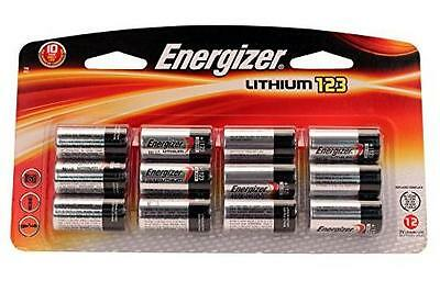 12-Pack Energizer CR123A (CR17345) 3 Volt Lithium Batteries (On a Card)