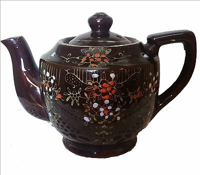 Antqiue Occupied Japan Teapot Brown Glazed Ceramic Hand Painted Flowers