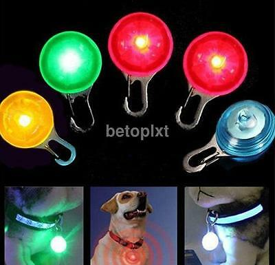 Safety Round Flashing Glow Light Blinking LED Tags Collar Pendant Pet Dog Puppy
