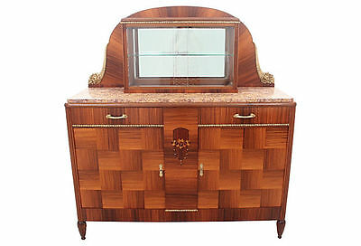 Art Deco Cocobolo Wood Marble Top Buffet