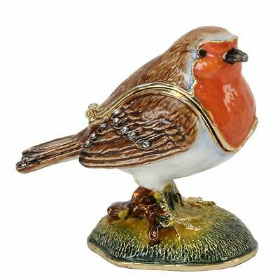 ROBIN with a Red Breast Enamelled Crystal Bird Trinket Box