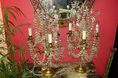 Antique Pair of French Electric Crystal Candelabras