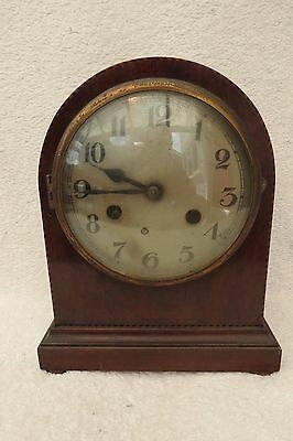 Antique Chequer Strung Mahogany Striking Clock For Tlc