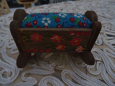 Lovely Vintage French Wooden Cradle Pin Cushion