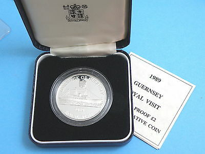 GUERNSEY - 1989 SILVER PROOF TWO POUND CROWN COIN - The ROYAL YACHT BRITANNIA