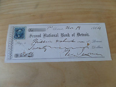 1864 Second National Bank of Detroit check Mission School Brockway