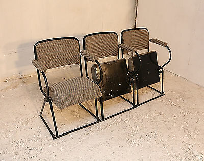 3 Vintage Cinema Seats, Chairs, Armchair, Metal Frame, Upholstered, Theatre