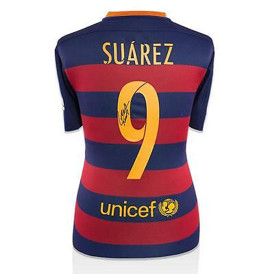Luis Suarez Signed Barcelona 2015-16 Home Shirt With Fan Style Number