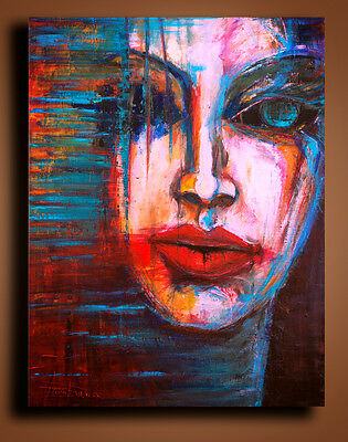 Original Portrait Abstract painting Contemporary Wall Art Canvas Acrylic colour