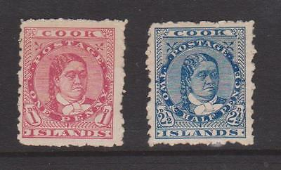 COOK ISLANDS 1902 1d AND 2.5d VALUES MOUNTED MINT