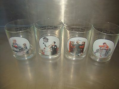 """Norman Rockwell set of 4 """"Saturday Evening Post"""" Drinking Glasses"""