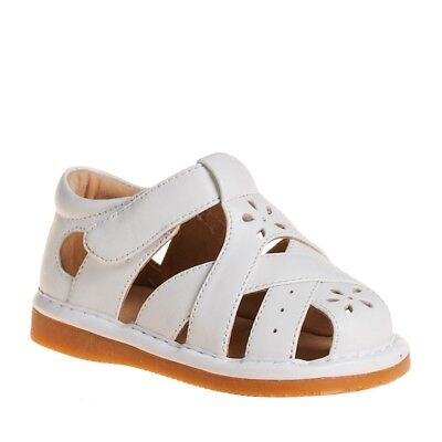 Girl's Closed Toe White Leather Squeaky Toddler Sandals Sizes 1 to 7