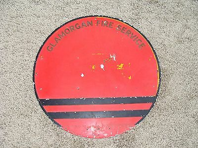 "Vintage Glamorgan Fire Service Red Sign , Pressed Aluminium Collectors 20"" Dia"