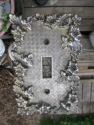 VTG American Tack 1967 Ornate Floral Flower Metal Light Brass Switch Plate Cover
