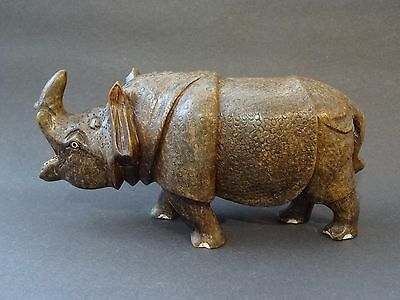 Large Wooden Rhino Hand Made Carved Ornament African Rhino Statue Figure Wood